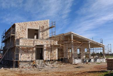 Baufortschritt der Designerfinca in Santanyi am 18. Dezember 2019