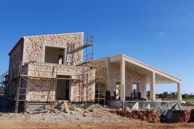 Baufortschritt Designer-Finca mit tollem Blick auf Santanyi im Januar 2020