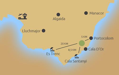 Eines der letzten Grundstücke bei Santanyi mit Meerblick - map